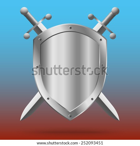 Double-edged swords and medieval shield - stock vector