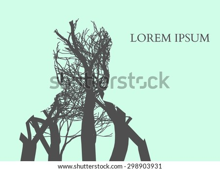 Double exposure Man Silhouette and tree. Double exposure Vector illustration. - stock vector