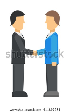 Double exposure of businessman meeting handshake industrial business team partnership character vector illustration. Meeting handshake team agreement and meeting handshake corporate success contract. - stock vector