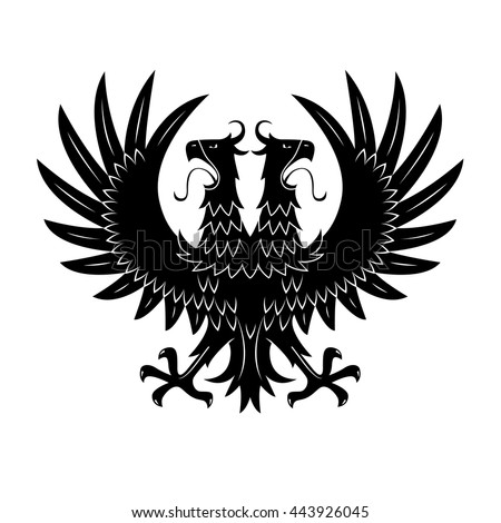 Double headed black eagle symbol with raised wings and wide open beaks with long tongues. Medieval royal heraldry or coat of arms design usage - stock vector