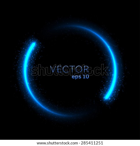 Double neon blue glittering star dust circle. Vector illustration - stock vector