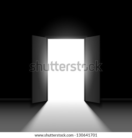 Double open door.  Illustration on black background - stock vector