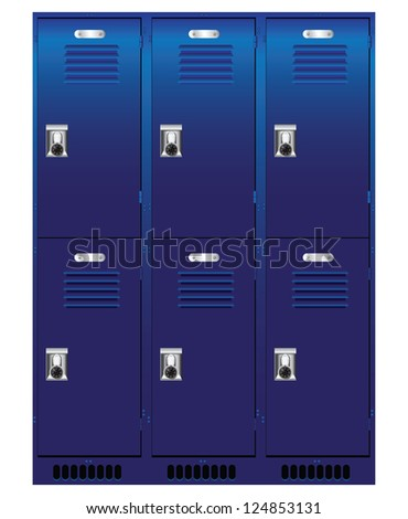 Double set of individual lockers. Vector illustration. - stock vector