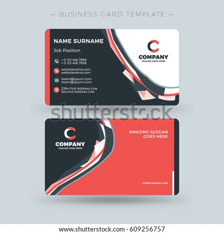 Doublesided business card template abstract red stock vector double sided business card template with abstract red and black waves background vector illustration reheart Images