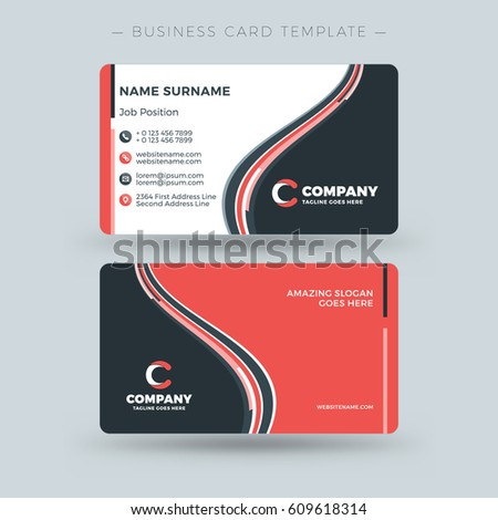 Doublesided business card template abstract red stock vector double sided business card template with abstract red and black waves background vector illustration cheaphphosting