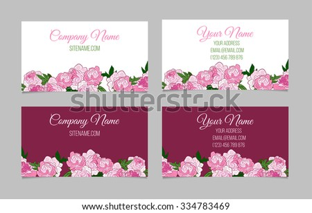 Double-sided business card template with peonies on white and purple backgrounds