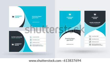 Doublesided Creative Business Card Template Portrait Stock Vector - Portrait business card template