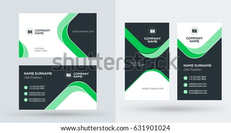 doublesided creative business card template portrait stock vector