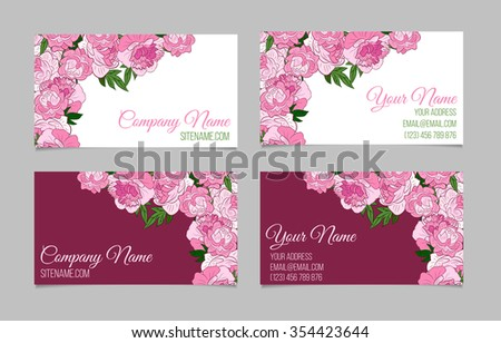 Doublesided floral business card template peonies stock vector double sided floral business card template with peonies on white and purple backgrounds fbccfo Gallery
