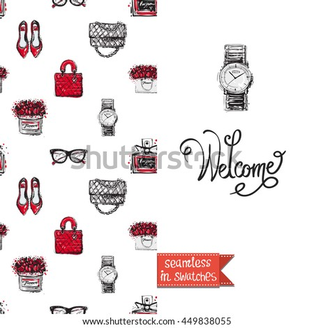 Double sided greeting card in bright fashion style. Seamless pattern with flat shoes on one side and on another big accessory element with lettering: welcome. - stock vector