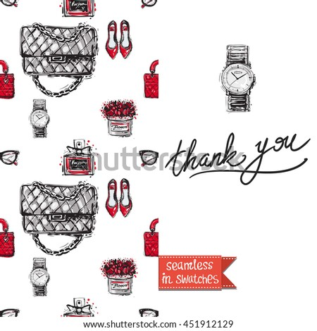 Double sided greeting card in bright fashion style. Seamless pattern with flat shoes on one side and on another big accessory element with lettering: thank you. - stock vector