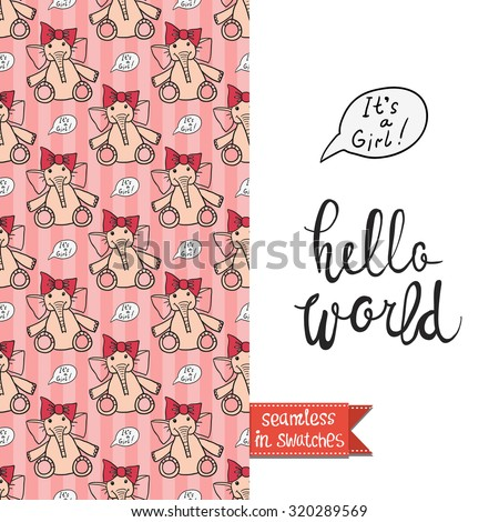 Double sided vintage greeting card for newborn baby girl shower party with toy and elephant seamless pattern background and icon and lettering: hello world. Seamless pattern in swatches - stock vector
