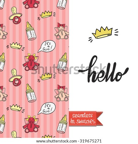 Double sided vintage greeting card for newborn baby girl shower party with toy and elephant pattern background on back side and icon and lettering: hello, on front side. Seamless pattern in swatches. - stock vector