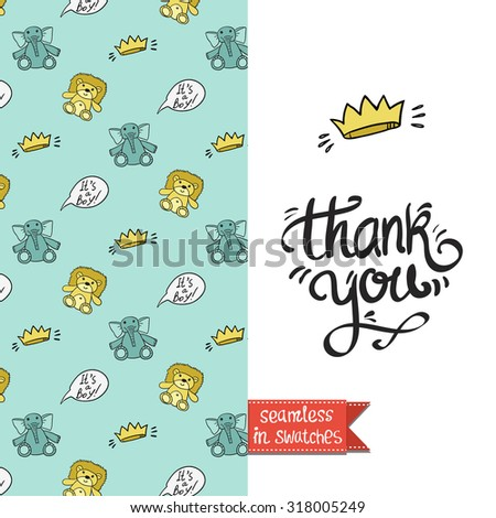 Double sided vintage greeting card for newborn baby shower party with abstract and vector pattern background on back side and lettering on front side. Seamless pattern in swatches. - stock vector