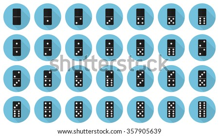 Double-six (28 pieces) domino vector flat icon set: black dominoes on light blue background - stock vector