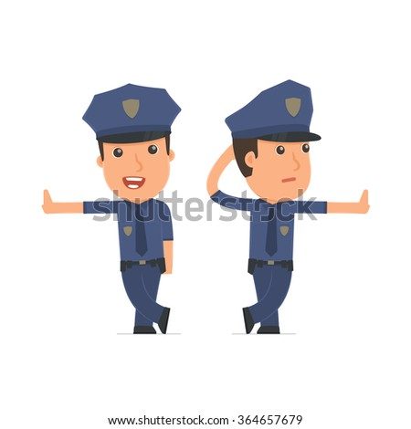 Doubt and Funny Character Officer leaned against the wall and shares information. for use in presentations, etc.