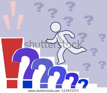 Doubting man runs up the stairs of the questions to the right answer,vector concept