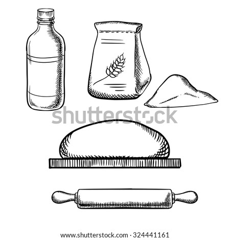 Dough on chopping board with wooden rolling pin, paper bag of flour and milk bottle isolated on white background, sketch style - stock vector