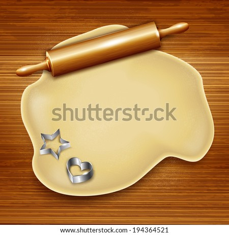 Dough, rolling pin, cookie cutters on the wood. Vector - stock vector