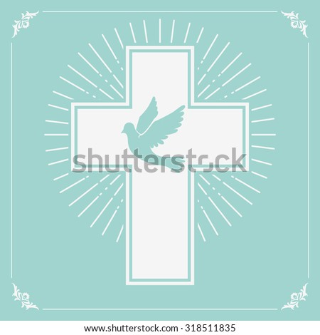 dove and a cross on a light olive background. Religion. Vector illustration. - stock vector