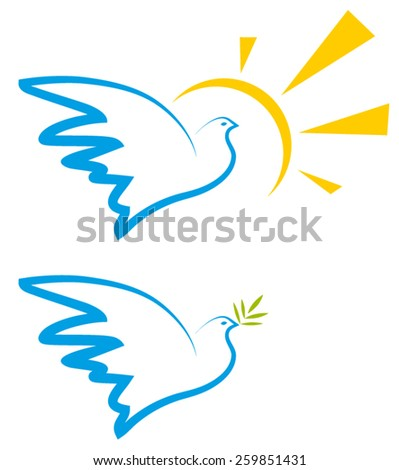Dove and the sun. Peace dove with olive branch. Vector illustration.