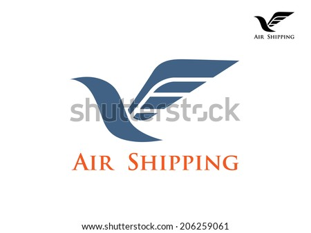 Dove bird with big wing as air shipping and mail symbol logo or emblem - stock vector