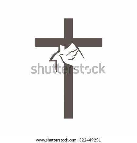 Dove, church, cross - stock vector