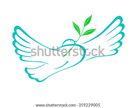 Dove of peace with an olive branch. A symbol of peace. Vector illustration.