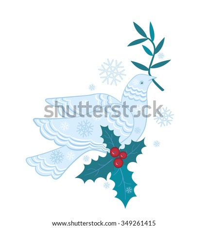 dove of peace with olive branch and snowflakes - stock vector
