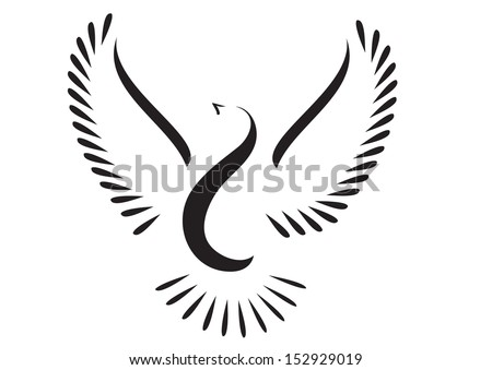 Dove or bird stylized.Peace symbol. - stock vector