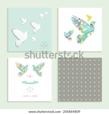 Dove. Set of four cards. Vector illustration. - stock vector