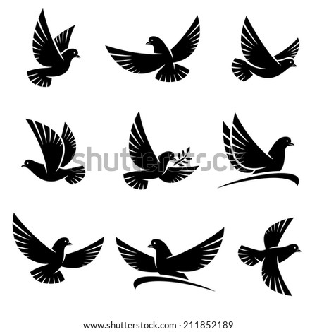 Dove set. Vector - stock vector