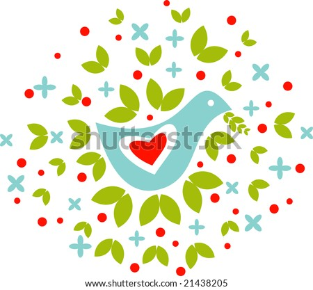 Dove symbolizing the peace and love with leaves, flowers and fruits around of it - stock vector