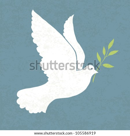 Dove with olive branch. Vector illustration, EPS 10 - stock vector
