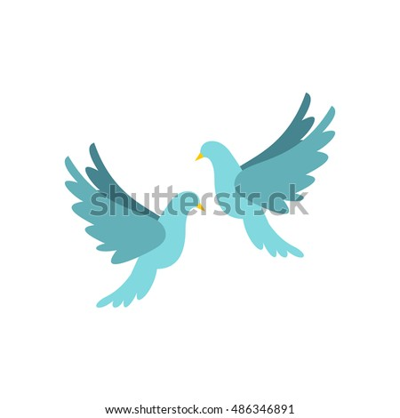 Doves icon in flat style isolated on white background. Bird symbol vector illustration