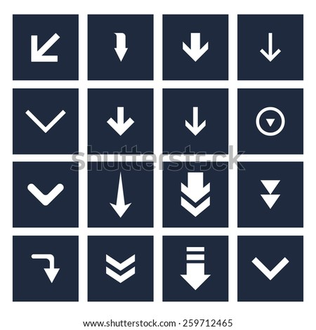 down arrow download icon collection. simple pictogram minimal, flat, solid, mono, monochrome, plain, contemporary style. Vector illustration web internet design elements - stock vector