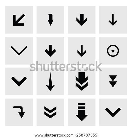 down arrow download icon set. simple pictogram minimal, flat, solid, mono, monochrome, plain, contemporary style. Vector illustration web internet design elements - stock vector