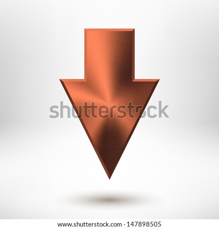 Down arrow sign with bronze metal texture (silver, chrome, stainless steel, iron, copper), light background and shadow for web user interfaces (UI), applications (apps) and business presentations.