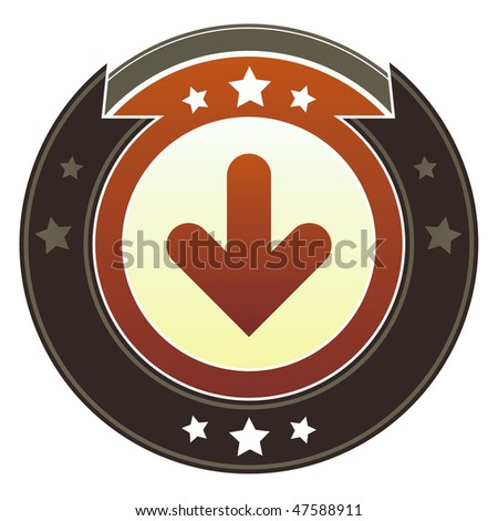 Down directional arrow icon on round red and brown imperial vector button with star accents suitable for use on website, in print and promotional materials, and for advertising.