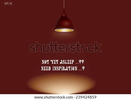 down light of inspiration illustration (not yet asleep..? need inspiration illustration). - stock vector