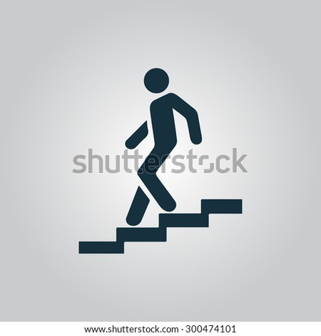 Down staircase. Flat web icon or sign isolated on grey background. Collection modern trend concept design style vector illustration symbol - stock vector