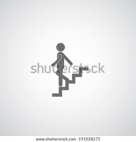 down staircase symbol on gray background  - stock vector