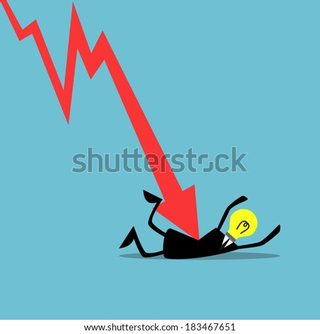 Down trend graph attacking a businessman, Business concept. - stock vector
