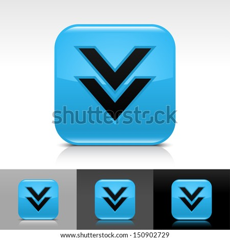 Download arrow icon blue color glossy web button with black sign. Rounded square shape with shadow, reflection on white, gray, black background. Vector illustration element 8 eps - stock vector