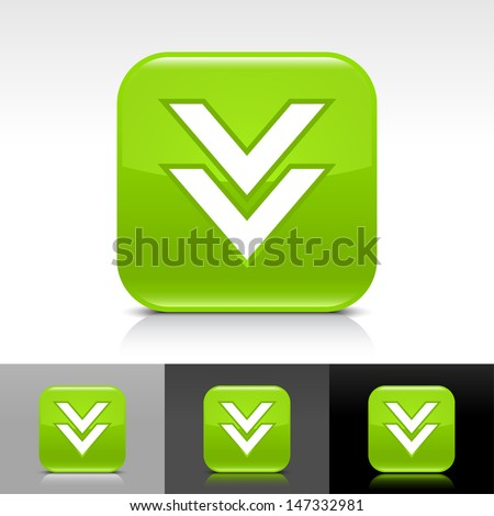 Download arrow icon. Green color glossy web button with white sign. Rounded square shape with shadow, reflection on white, gray, black background. Vector illustration element 8 eps  - stock vector