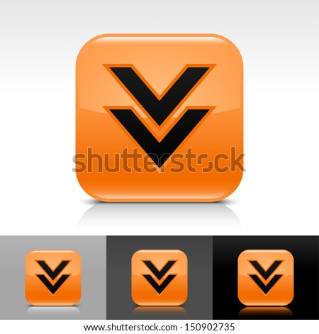Download arrow icon orange color glossy web button with black sign. Rounded square shape with shadow, reflection on white, gray, black background. Vector illustration element 8 eps - stock vector