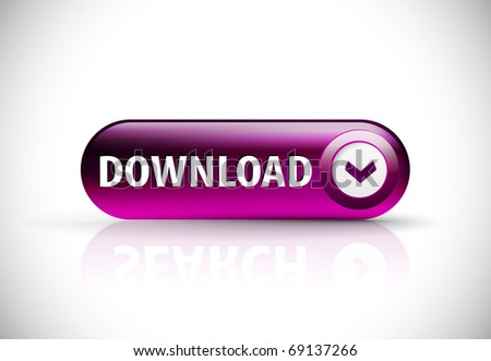 Download button with shadow and reflections. - stock vector