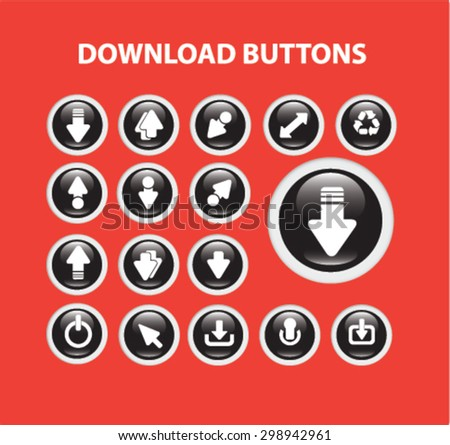 download buttons, icons vector set for web, application, design. - stock vector