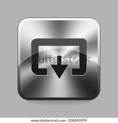 Download chrome or metal  button or icon vector illustration - stock vector