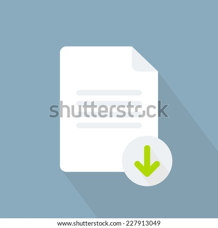 Download document icon. Flat style. Vector illustration - stock vector